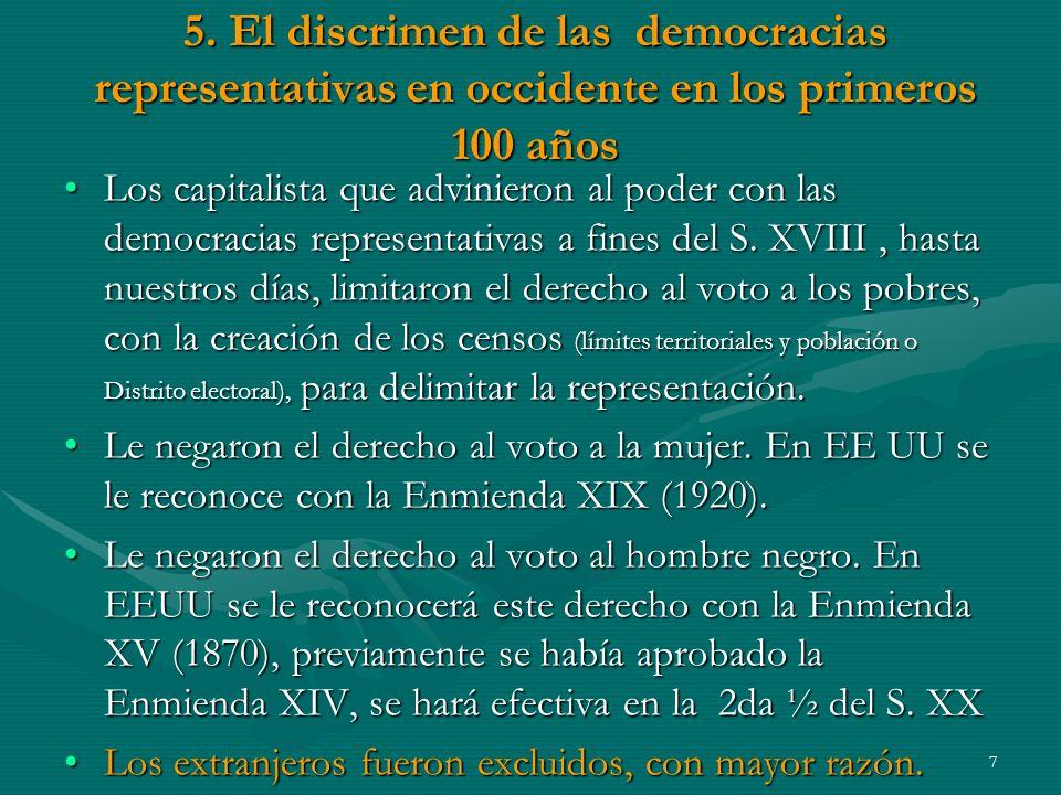 5. El discrimen de las democracias representativas en occidente en los primeros 100 años