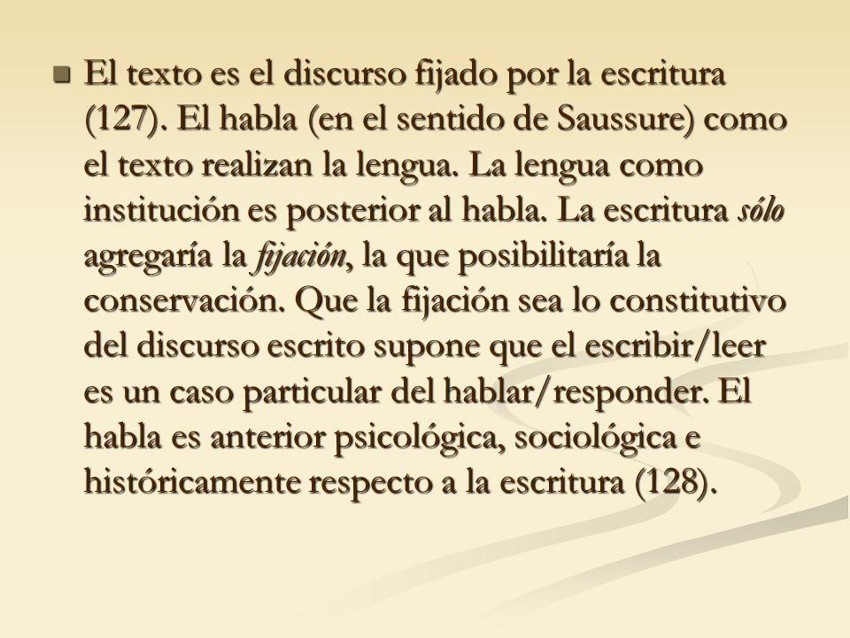 El texto es el discurso fijado por la escritura (127)