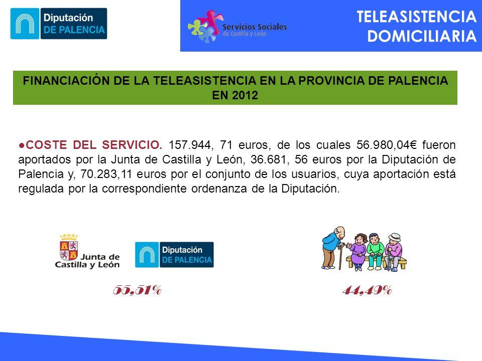FINANCIACIÓN DE LA TELEASISTENCIA EN LA PROVINCIA DE PALENCIA EN 2012