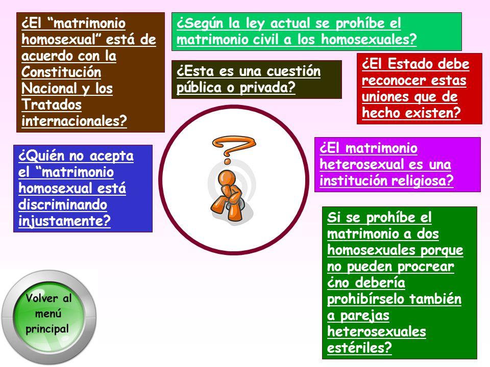¿El matrimonio homosexual está de acuerdo con la Constitución Nacional y los Tratados internacionales