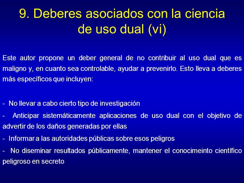 9. Deberes asociados con la ciencia de uso dual (vi)