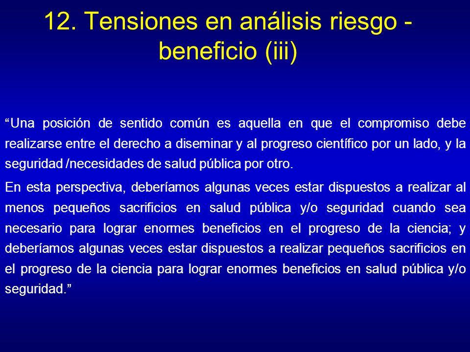 12. Tensiones en análisis riesgo - beneficio (iii)
