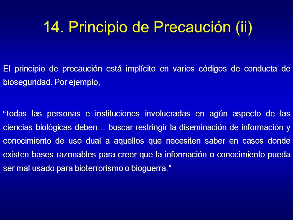 14. Principio de Precaución (ii)