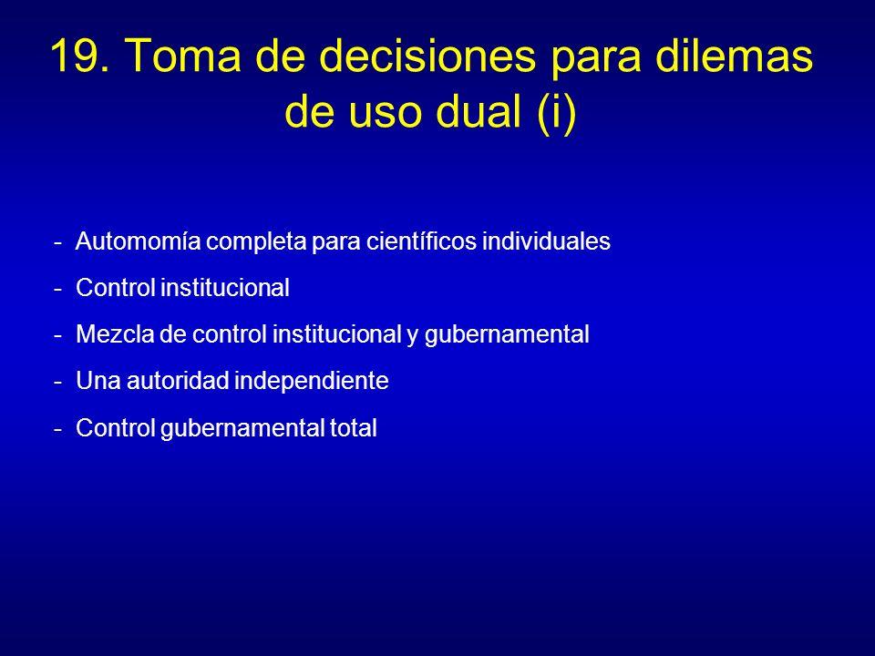 19. Toma de decisiones para dilemas de uso dual (i)