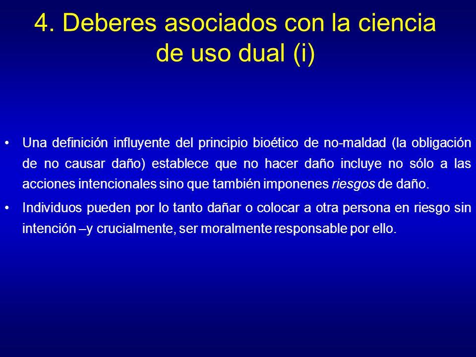 4. Deberes asociados con la ciencia de uso dual (i)