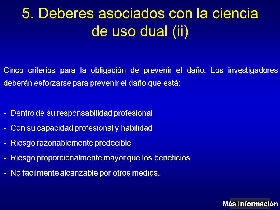5. Deberes asociados con la ciencia de uso dual (ii)