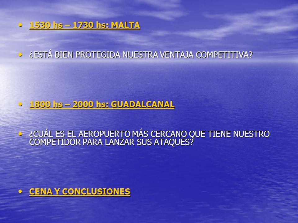 1530 hs – 1730 hs: MALTA ¿ESTÁ BIEN PROTEGIDA NUESTRA VENTAJA COMPETITIVA 1800 hs – 2000 hs: GUADALCANAL.