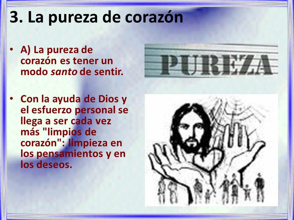 3. La pureza de corazón A) La pureza de corazón es tener un modo santo de sentir.