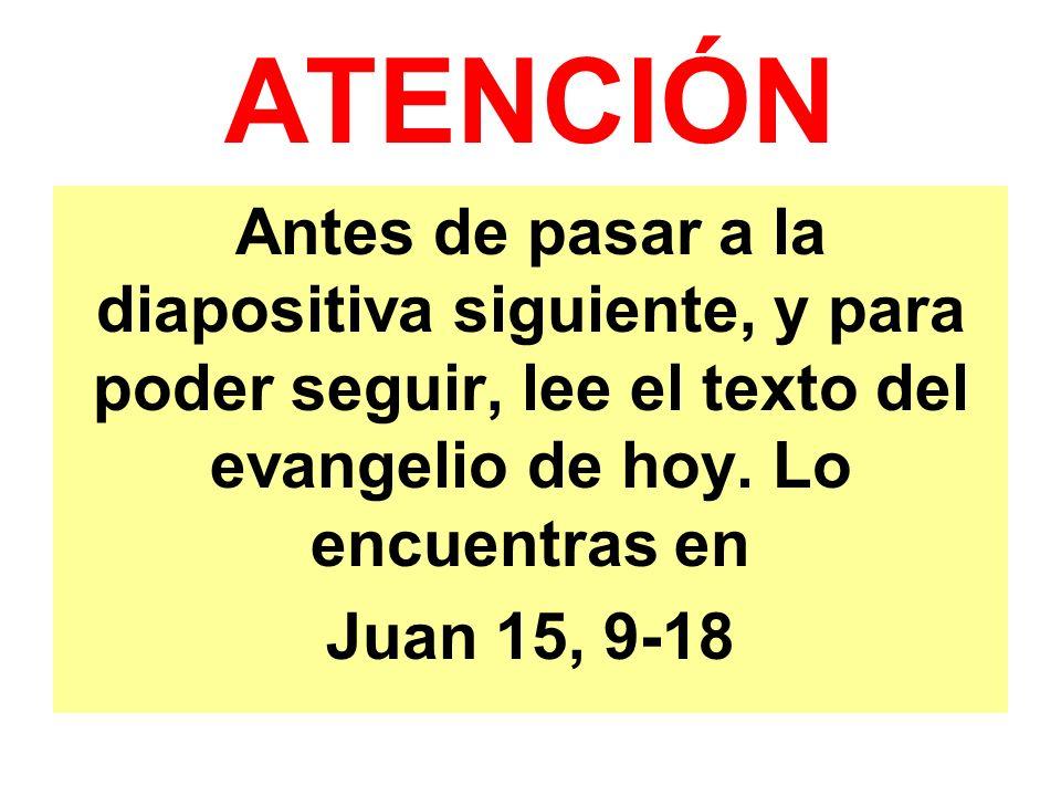 ATENCIÓN Antes de pasar a la diapositiva siguiente, y para poder seguir, lee el texto del evangelio de hoy.