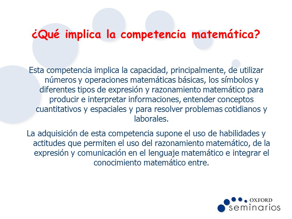 ¿Qué implica la competencia matemática