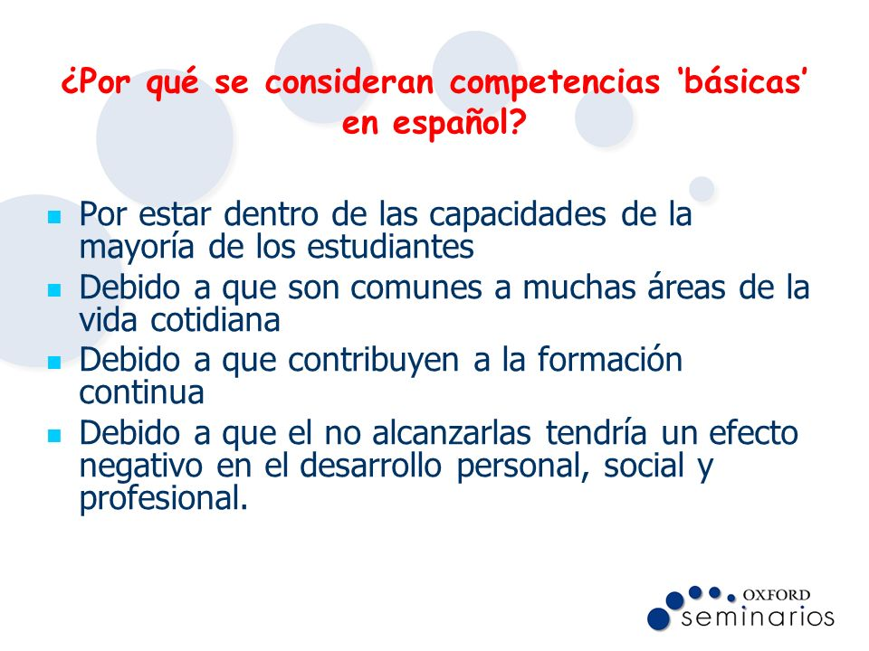 ¿Por qué se consideran competencias 'básicas' en español
