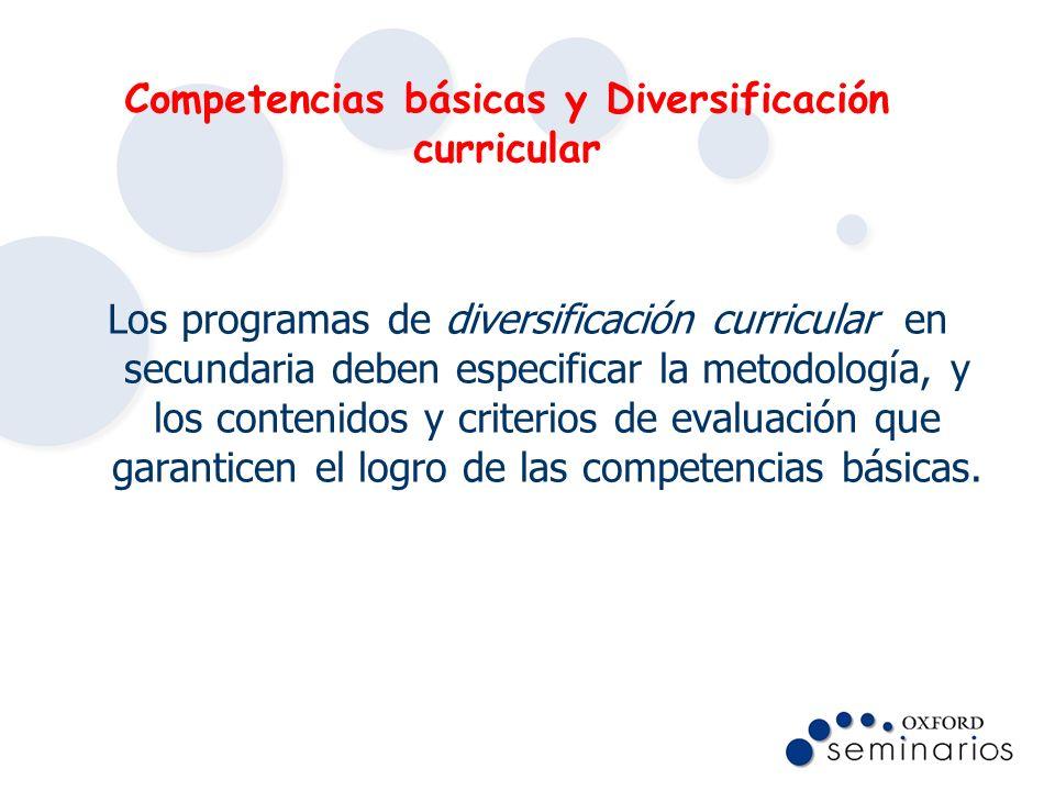 Competencias básicas y Diversificación curricular