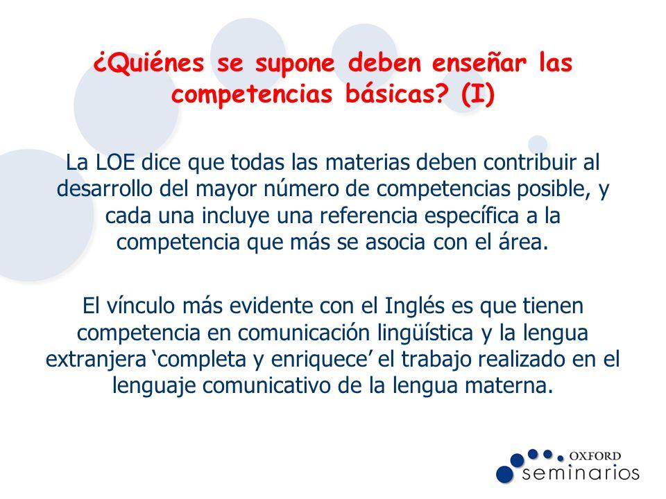 ¿Quiénes se supone deben enseñar las competencias básicas (I)