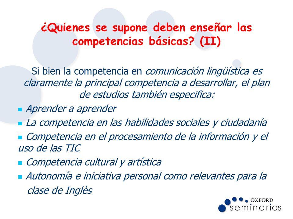 ¿Quienes se supone deben enseñar las competencias básicas (II)