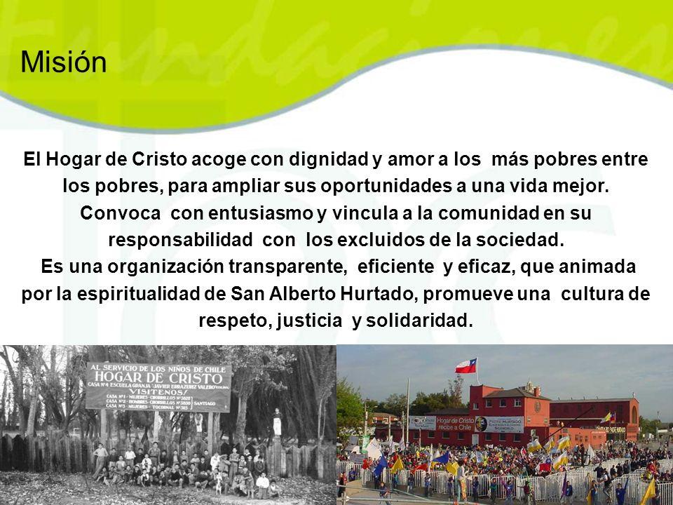 Misión El Hogar de Cristo acoge con dignidad y amor a los más pobres entre los pobres, para ampliar sus oportunidades a una vida mejor.