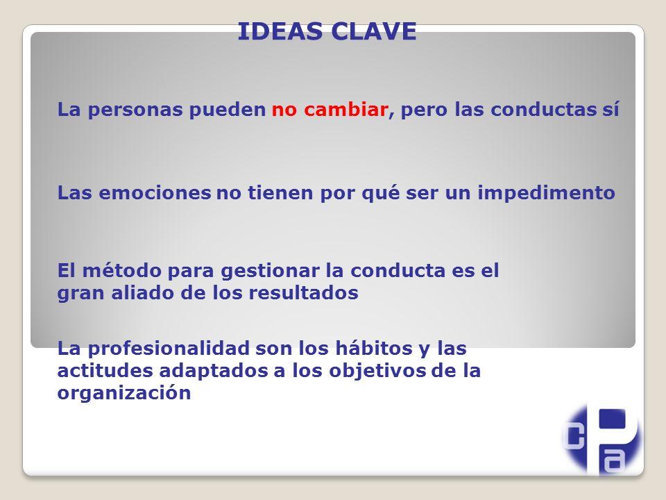 IDEAS CLAVE La personas pueden no cambiar, pero las conductas sí