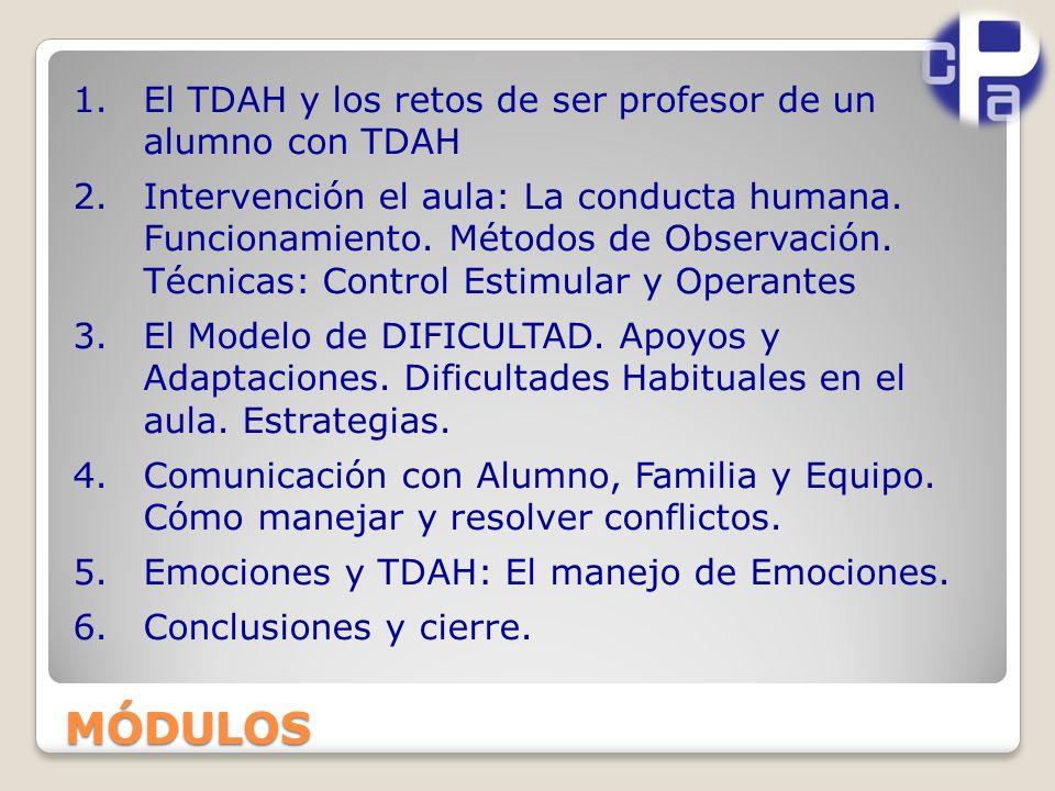 MÓDULOS El TDAH y los retos de ser profesor de un alumno con TDAH