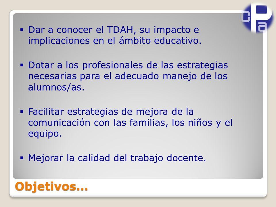 Dar a conocer el TDAH, su impacto e implicaciones en el ámbito educativo.