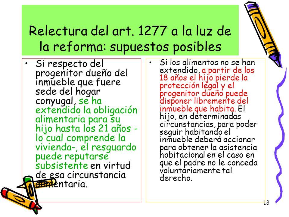 Relectura del art. 1277 a la luz de la reforma: supuestos posibles