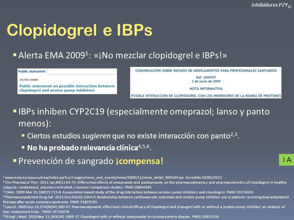 Clopidogrel e IBPs Alerta EMA 20091: «¡No mezclar clopidogrel e IBPs!»