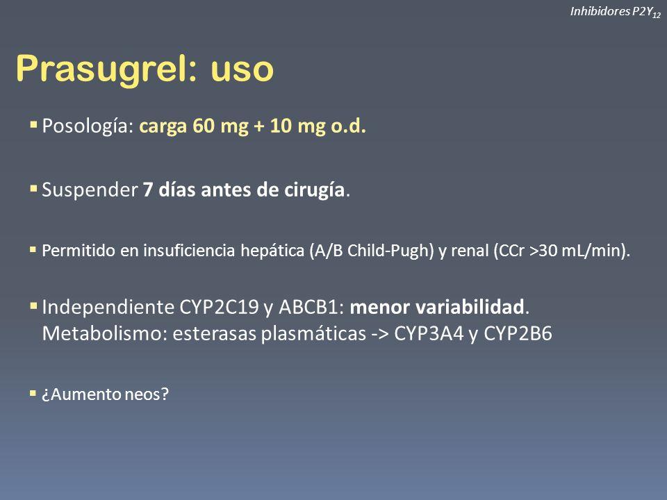 Prasugrel: uso Posología: carga 60 mg + 10 mg o.d.