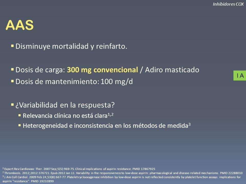 AAS Disminuye mortalidad y reinfarto.