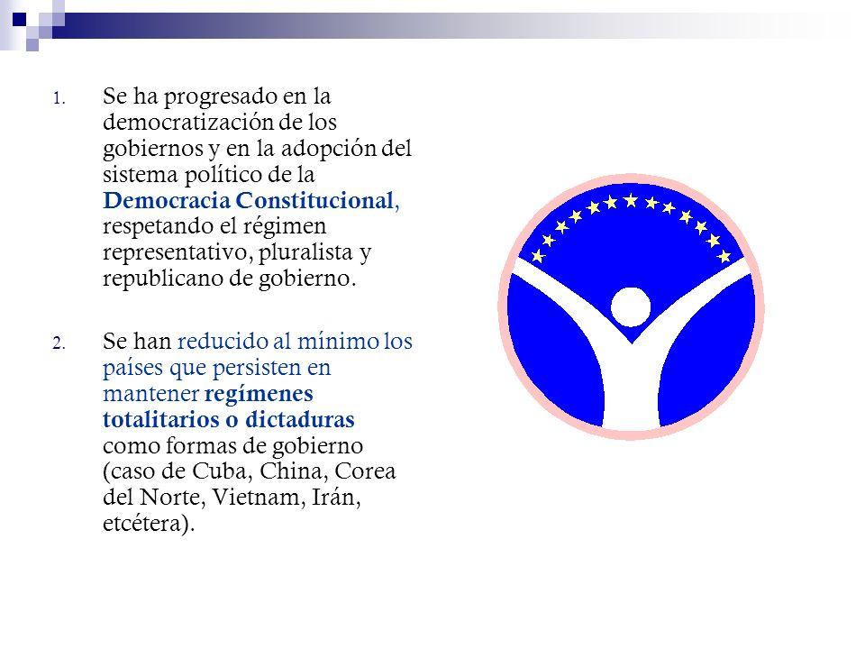 Se ha progresado en la democratización de los gobiernos y en la adopción del sistema político de la Democracia Constitucional, respetando el régimen representativo, pluralista y republicano de gobierno.