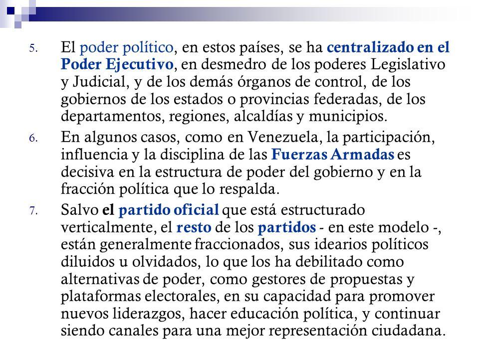 El poder político, en estos países, se ha centralizado en el Poder Ejecutivo, en desmedro de los poderes Legislativo y Judicial, y de los demás órganos de control, de los gobiernos de los estados o provincias federadas, de los departamentos, regiones, alcaldías y municipios.