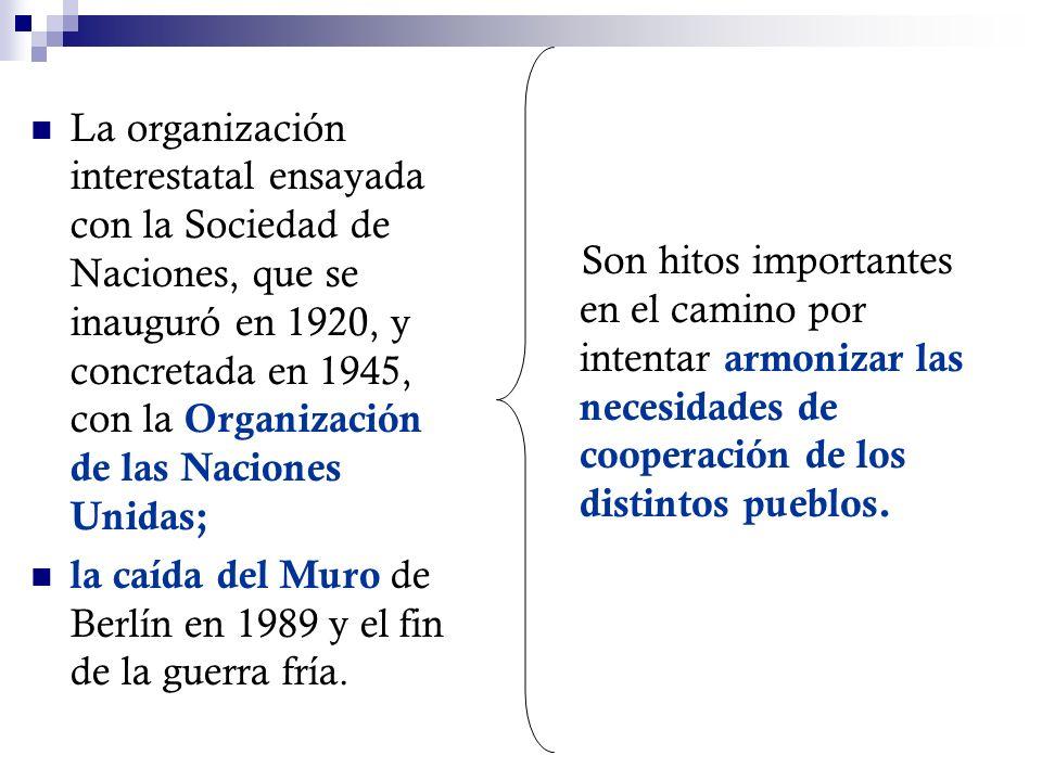 La organización interestatal ensayada con la Sociedad de Naciones, que se inauguró en 1920, y concretada en 1945, con la Organización de las Naciones Unidas;
