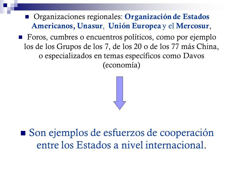 Organizaciones regionales: Organización de Estados Americanos, Unasur, Unión Europea y el Mercosur,