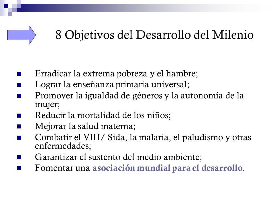 8 Objetivos del Desarrollo del Milenio