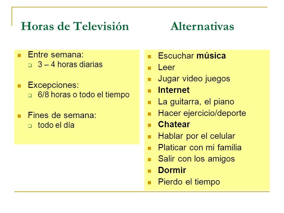 Horas de Televisión Alternativas