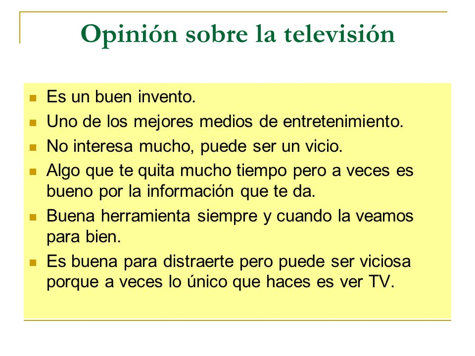 Opinión sobre la televisión