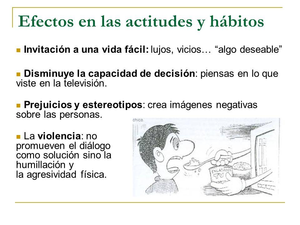 Efectos en las actitudes y hábitos