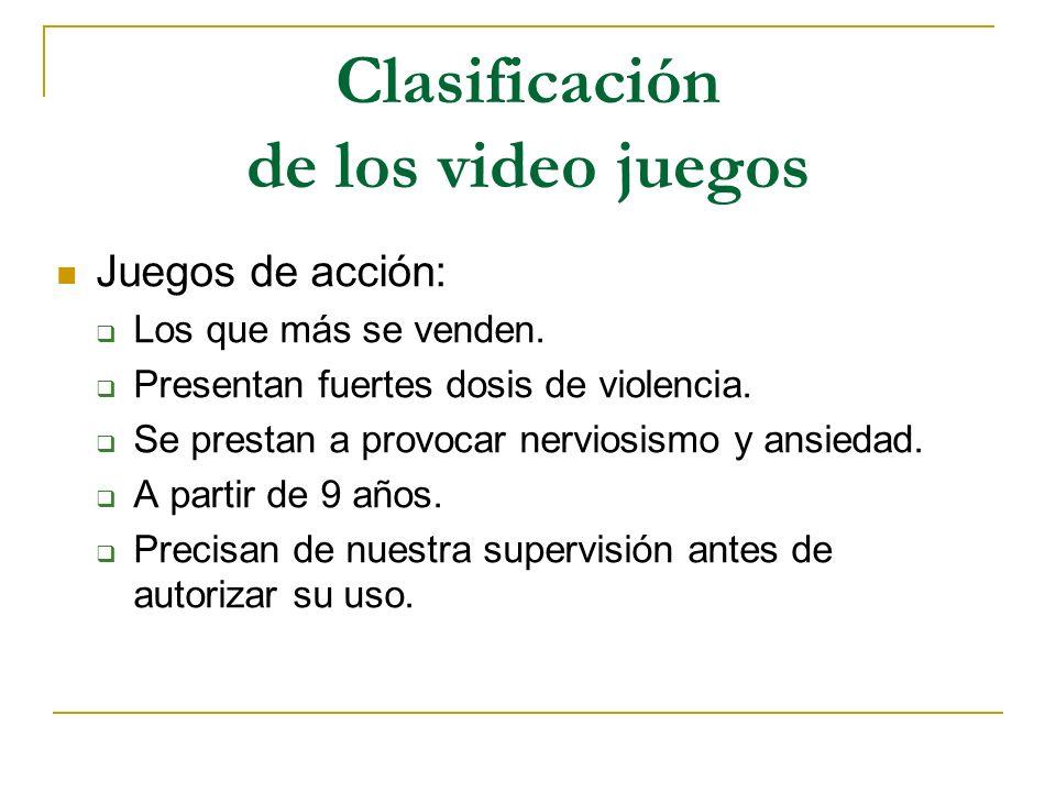Clasificación de los video juegos