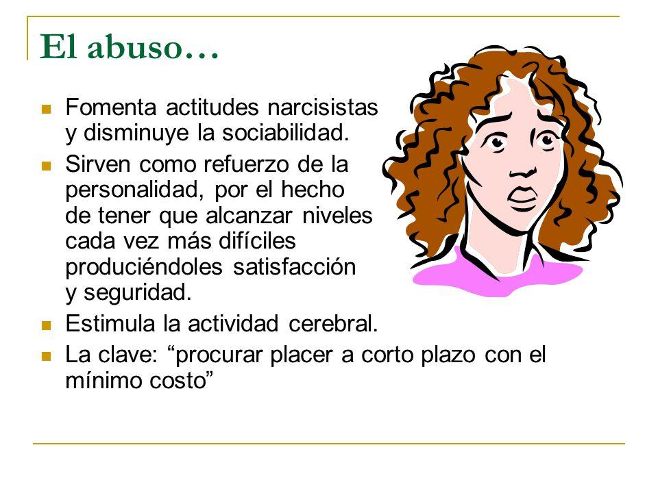 El abuso… Fomenta actitudes narcisistas y disminuye la sociabilidad.