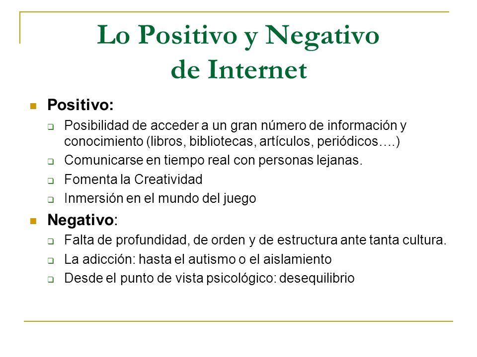 Lo Positivo y Negativo de Internet
