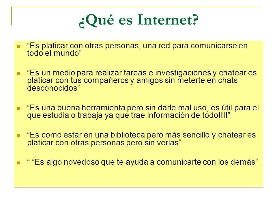 ¿Qué es Internet Es platicar con otras personas, una red para comunicarse en todo el mundo
