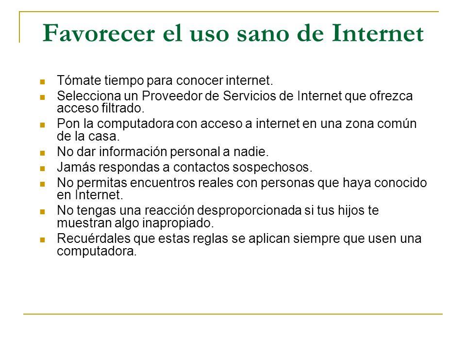 Favorecer el uso sano de Internet