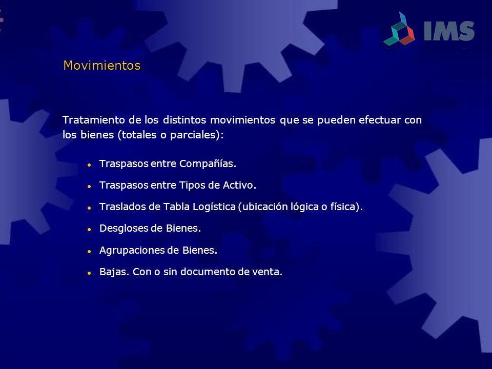 Movimientos Tratamiento de los distintos movimientos que se pueden efectuar con. los bienes (totales o parciales):
