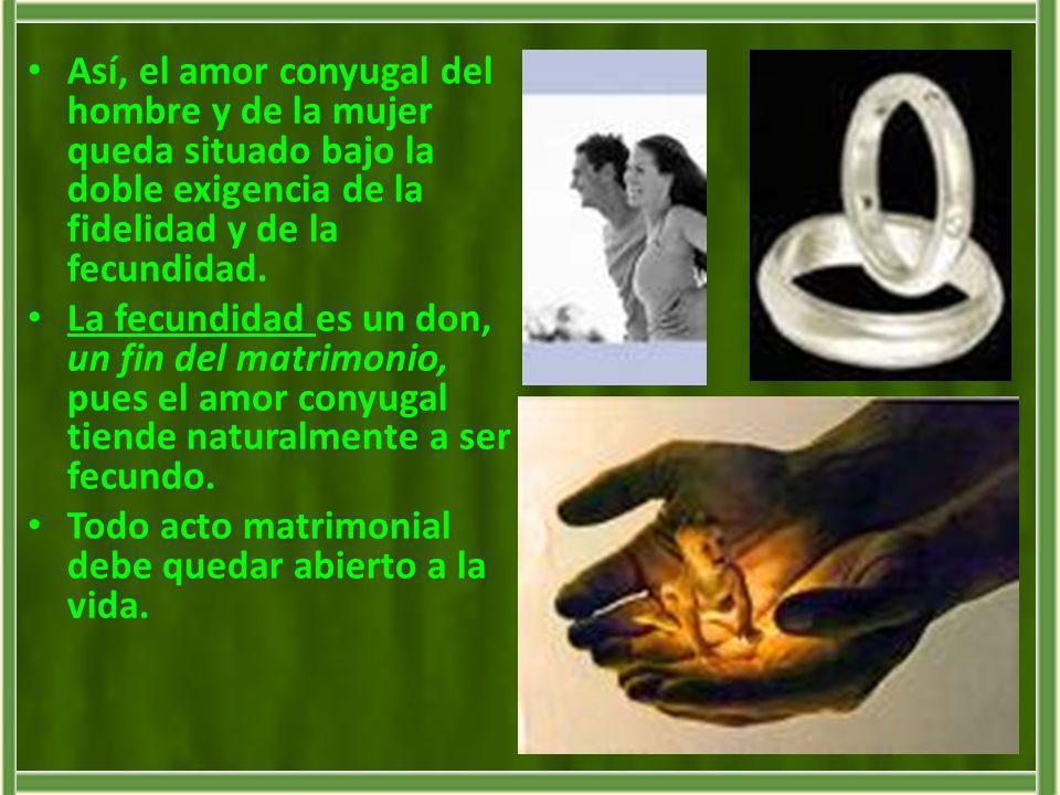 Así, el amor conyugal del hombre y de la mujer queda situado bajo la doble exigencia de la fidelidad y de la fecundidad.