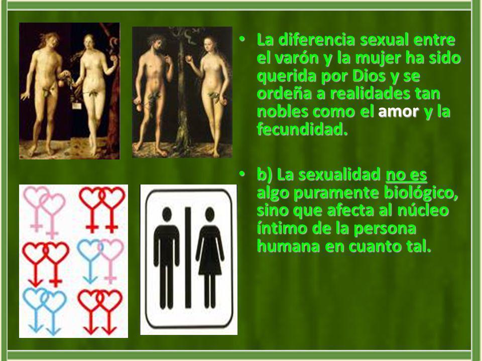 La diferencia sexual entre el varón y la mujer ha sido querida por Dios y se ordeña a realidades tan nobles como el amor y la fecundidad.