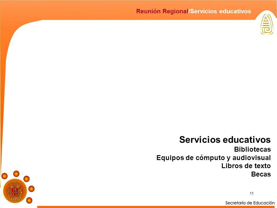 Servicios educativos Bibliotecas Equipos de cómputo y audiovisual