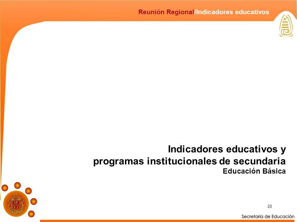Indicadores educativos y programas institucionales de secundaria