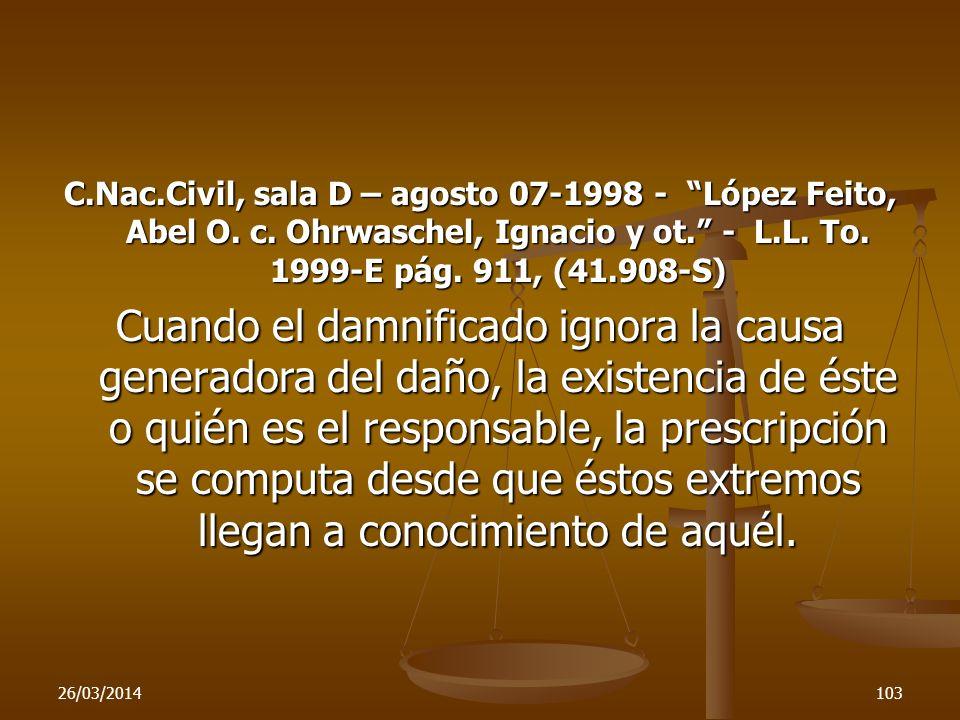 C. Nac. Civil, sala D – agosto 07-1998 - López Feito, Abel O. c