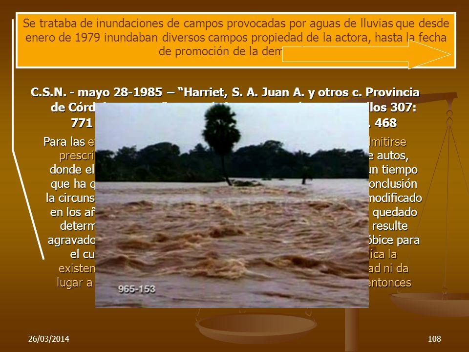 Se trataba de inundaciones de campos provocadas por aguas de lluvias que desde enero de 1979 inundaban diversos campos propiedad de la actora, hasta la fecha de promoción de la demanda.