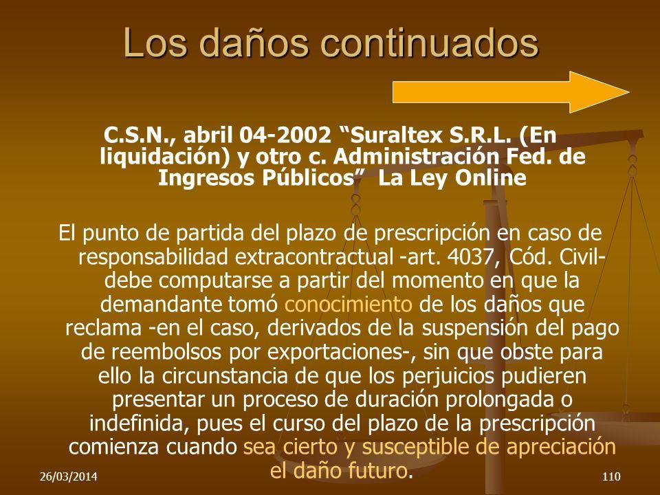 Los daños continuadosC.S.N., abril 04-2002 Suraltex S.R.L. (En liquidación) y otro c. Administración Fed. de Ingresos Públicos La Ley Online.