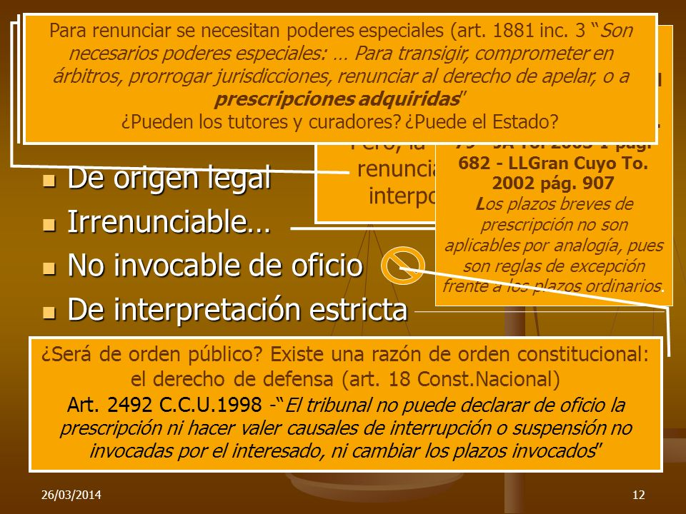 Caracteres De origen legal Irrenunciable… No invocable de oficio