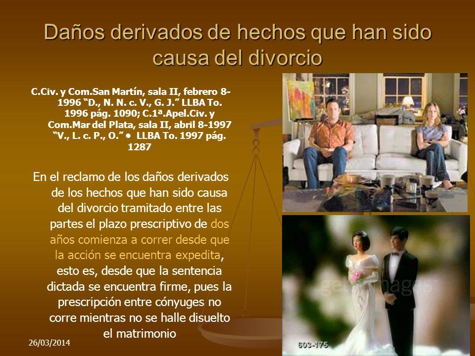 Daños derivados de hechos que han sido causa del divorcio