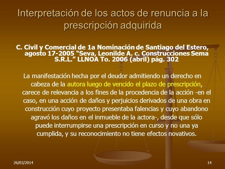 Interpretación de los actos de renuncia a la prescripción adquirida